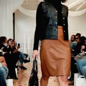 Chestnut brown leather pencil skirt